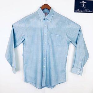 Brooks brothers blue plaid button-down dress shirt
